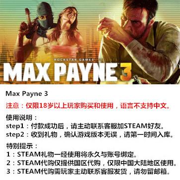 马克思佩恩3 PC版 STEAM国区代购(标准版)
