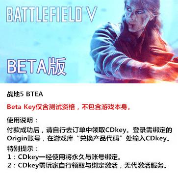 战地5 PC版 中文 BETA Key