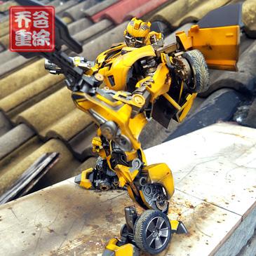乔爸重涂 变形金刚5电影 威将M03 战刃 大黄蜂 合金版 金属 战损