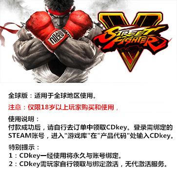 街头霸王5 街霸5 PC版 中文  全球版key
