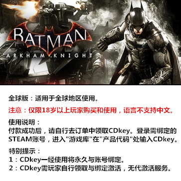 蝙蝠侠:阿甘骑士 PC版  全球版key