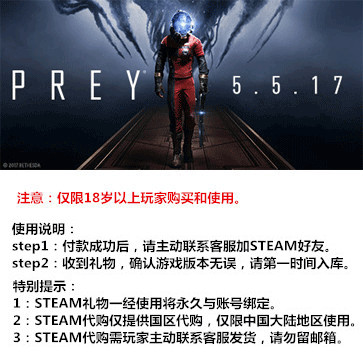 Prey 掠食 PC版  STEAM国区代购(标准版)
