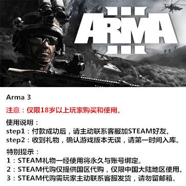 武装突袭3 PC版 STEAM国区代购(标准版)