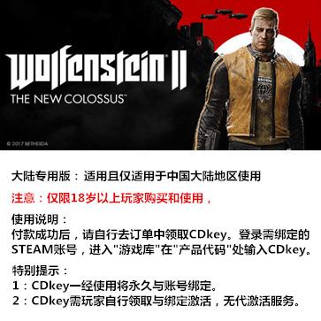 德军总部2:新巨人 PC版 中文 大陆版key