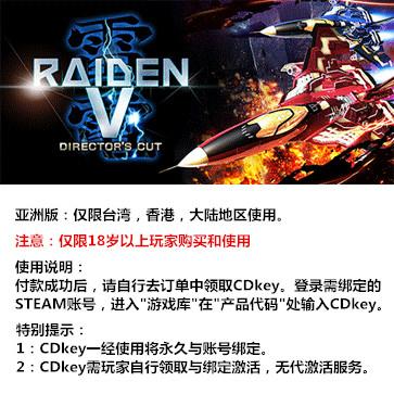 雷电5:导演剪辑版 PC版 中文 亚洲版key