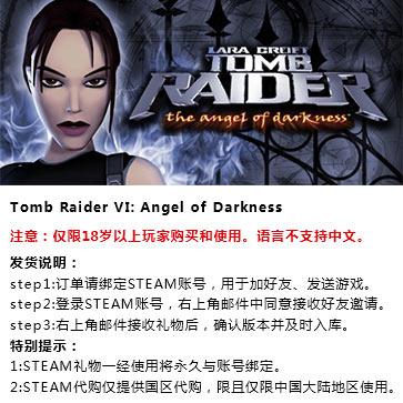 古墓丽影6:黑暗天使 PC版 STEAM国区代购(标准版)