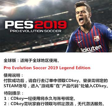 实况足球2019 PES2019 PC版 中文 全球版key(传奇版)