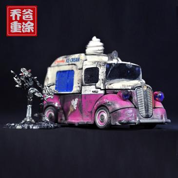 乔爸重涂 变形金刚 09电影2 D级 冰淇淋车 双胞胎冰激凌 3C正版